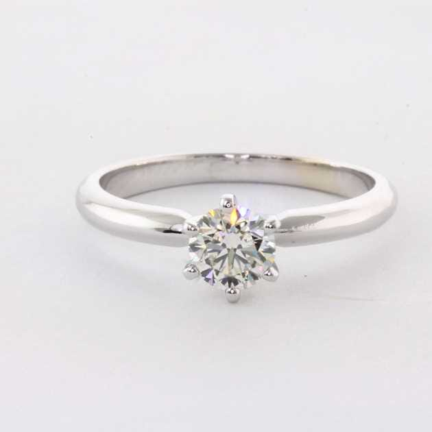 Platinum solitaire ring set with 0.70 carat diamond