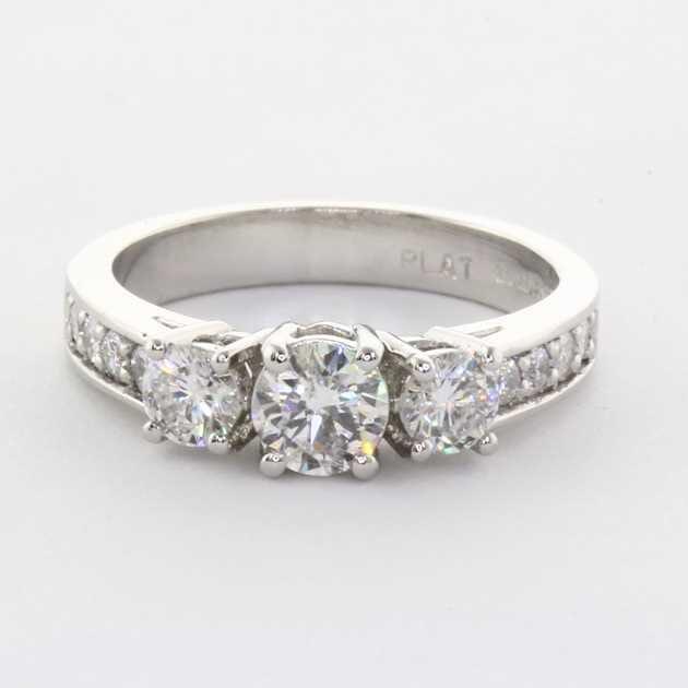 platinum 3 diamonds ring setting