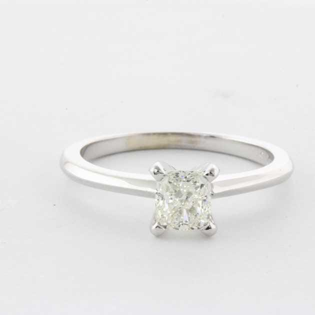 18K White Gold Solitaire Diamond Engagement Ring set with Cushion Diamond, 0.53 Carat, F Colour, VS1 Clarity, Certified By EGL.