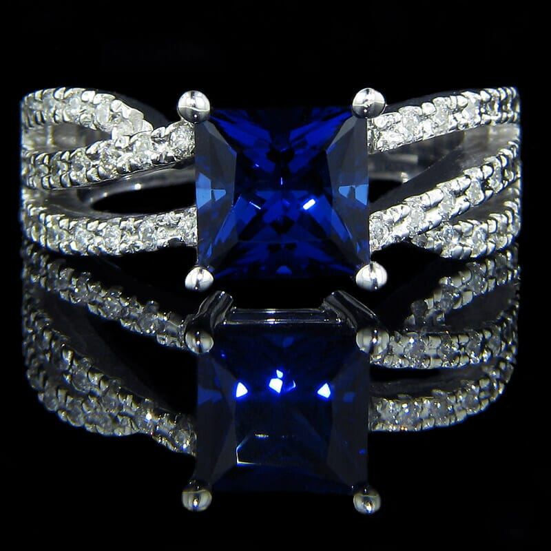 diamond ring with blue sapphire