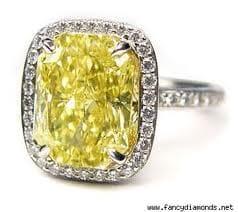 halo with cushion yellow diamond
