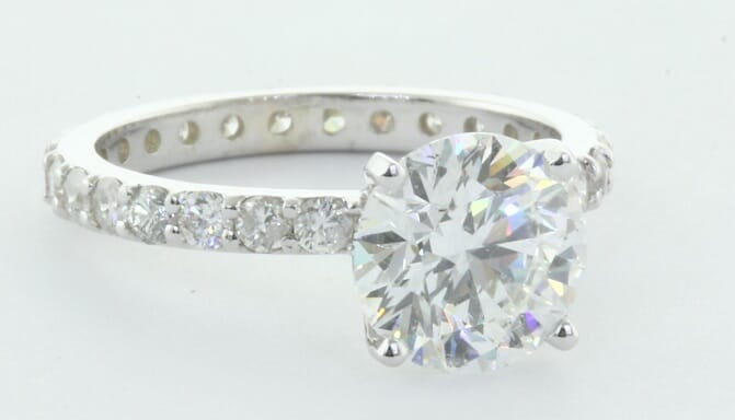 engagement ring with side diamonds