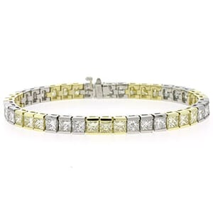 1007 - Diamond Tennis Bracelet 5 Carat, Set With Princess Cut And Princess Diamonds