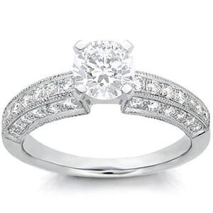 1072 - Diamond Engagement Ring Set With Round Diamonds (1/2 Ct. Tw.)