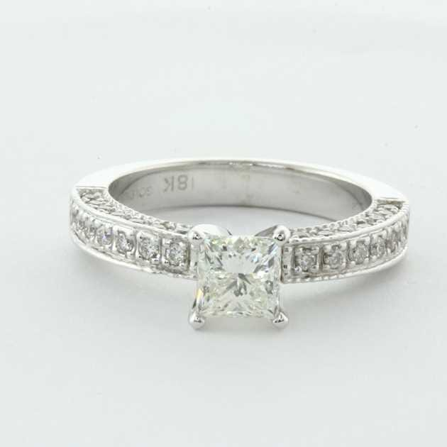 a2c59565f2d77 14K White Gold 18K White Diamond Engagement Ring Set With Round Diamonds  (1/2 Ct. Tw.)