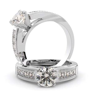 1082 - Diamond Engagement Ring Set With Princess Diamonds (0.70 Ct. Tw.)