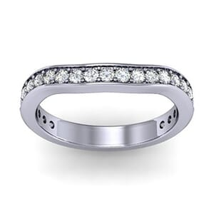 1117 - 25 Round Diamonds On A Curved Wedding Ring 0.80 Carat