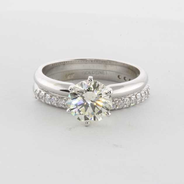 14K White Gold Set With 1.55 Carat Round Diamond H SI1 EGL EX Polish  Excellent Symmetry