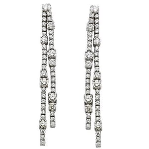 1192 - Diamond Drop Earrings 10.5 Carat, Set With Round Brilliant Diamonds