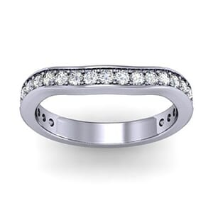 1272 - Curved Round Brilliant Wedding Band
