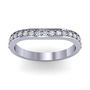 1447 - Curved Round Brilliant Wedding Band