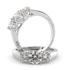 1452 - U Shape Three Stone Diamond Engagement Ring