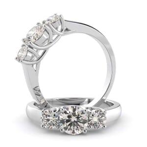 1452 - U Shape Three Stone Diamond Engagement Ring