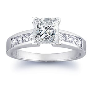 1497 -  Engagement Ring Set With Princess Cut Diamonds (1 1/2 Ct. Tw.)