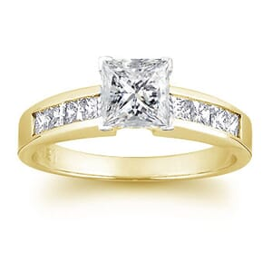 1508 - Yellow Gold Preset Engagement Ring With Princess Cut Diamonds 1 1/3 Carat Total