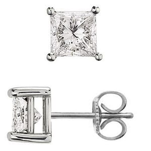 1962 - 0.60 Carat Princess Cut Diamonds set in Stud Earrings