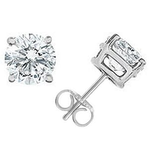 2256 - Diamond Stud Earrings 1 1/2 Carat, Set With Round Brilliant Diamonds