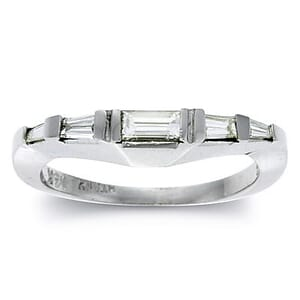 2382 - Diamond Wedding Ring 0.4 Carat, Set With Baguette Diamonds