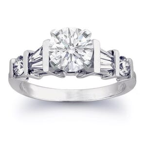 2432 -  Engagement Ring Set With Round Brilliant And Baguette Diamonds (1.05 Ct. Tw.)
