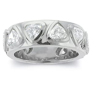 2477 - Diamond Wedding Ring 3.3 Carat, Set With Heart Shape Diamonds