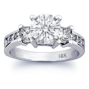 2487 - Three Stone Diamond Engagement Ring Set With Princess Diamonds (0.9 Ct. Tw.)
