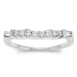 2527 - Diamond Wedding Ring 0.4 Carat, Set With Round Brilliant And Baguette Diamonds