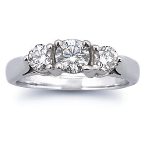 2617 - Three Stone Diamond Ring Set With Round Brilliant Diamonds (1.00 Ct. Tw.)