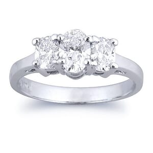2627 - Three Stones Engagement Ring 1.00 Carat, Set With Oval Diamonds