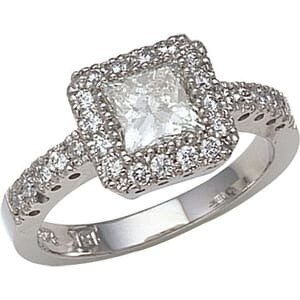 2682 - Engagement Ring With Side Stones 1.4 Carat, Set With Round Brilliant And Princess Diamonds