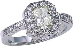 2687 - Engagement Ring With Side Stones 1.9 Carat, Set With Round Brilliant And Radiant Diamonds