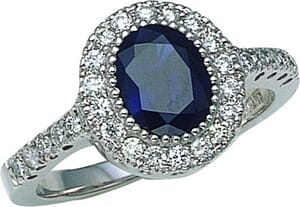 2702 - Engagement Ring With Side Stones 2.4 Carat, Set With Round Brilliant And Sapphire Diamonds