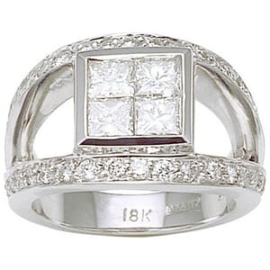 2712 - Engagement Ring With Side Stones 1.9 Carat, Set With Princess And Round Brilliant Diamonds