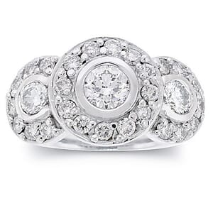 2717 - Three Stones Engagement Ring 2.1 Carat, Set With Round Brilliant Diamonds