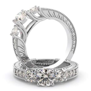 2742 - Three Stone Diamond Engagement Ring (0.56 Ct. Tw.)