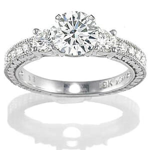 2767 -  Engagement Ring Set With Round Brilliant Cut Diamonds (1 1/2 Ct. Tw.)