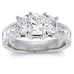 2822 - Three Stone Diamond Ring Set With Radiant Diamonds (2 ½ Ct. Tw.)
