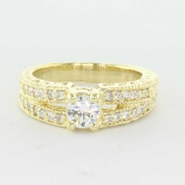 18K Yellow Gold Set With 0.30 Carat Round Diamond D VS1 GIA Certificate #2165709096