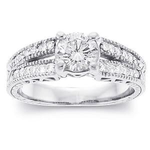 2837 -  Engagement Ring Set With Round Brilliant Cut Diamonds (1 Ct. Tw.)