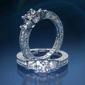 2867 - Three Stone Diamond Engagement Ring Set With Round Brilliant And Princess Diamonds (1.00 Ct. Tw.)