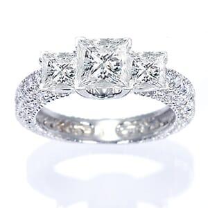 2872 -  Engagement Ring Set With Princess Cut Diamonds (1 1/2 Ct. Tw.)