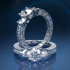 2877 -  Three Stone Diamond Engagement Ring
