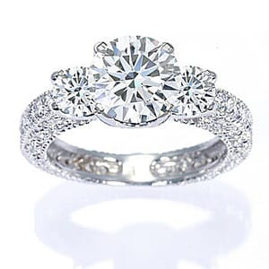 2882 -  Engagement Ring Set With Round Brilliant Cut Diamonds (1 1/2 Ct. Tw.)