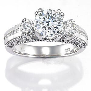 2912 - Three Stone Diamond Engagement Ring Set With Round Brilliant Cut Diamonds (0.60 Ct. Tw.)