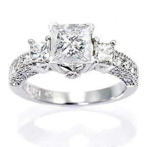2982 -  Engagement Ring Set With Princess Cut Diamonds (1 3/4 Ct. Tw.)