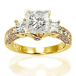 2988 -  Engagement Ring Set With Princess Cut Diamonds (1 3/4 Ct. Tw.)