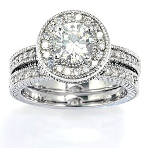 2992 - Matching Set, Engagement Ring And Wedding Band 1.7 Carat, Set With Round Brilliant Diamonds
