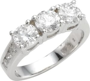 3012 - Three Stone Diamond Ring Set With Round Brilliant Diamonds (1.45 Ct. Tw.)