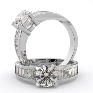 3052 - Diamond Engagement Ring With Baguette Diamond (1 ½ Ct. Tw.)