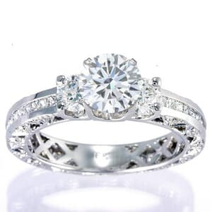 3057 - Three Stone Diamond Engagement Ring (2.1 Ct. Tw.)