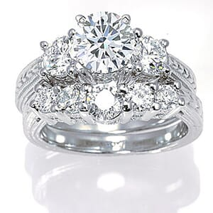 3067 - Matching Set Diamond Engagement Ring And Wedding Ring (1.6 Ct. Tw.)